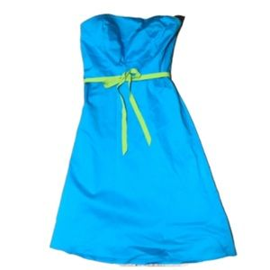 Strapless dress sz 10 blue with green accents